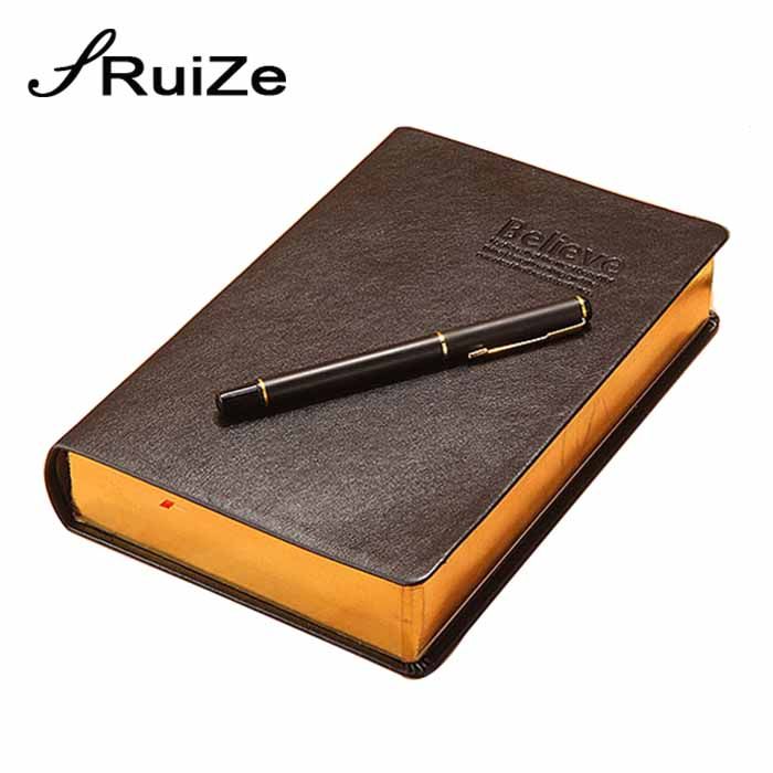 RuiZe vintage thick notebook bible notes book journal leather notebook blank paper gold edge office school creative stationery ruize soft cover leather traveler notebook blank kraft paper note book a7 a6 creative travel journal diary school supplies