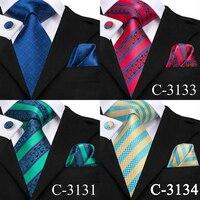 C-3129 Hi-Tie Luxury Silk Men Tie Gold Floral Dark Green Necktie Handkerchief Cufflinks Set Fashion Men's Party Wedding Tie Set 5