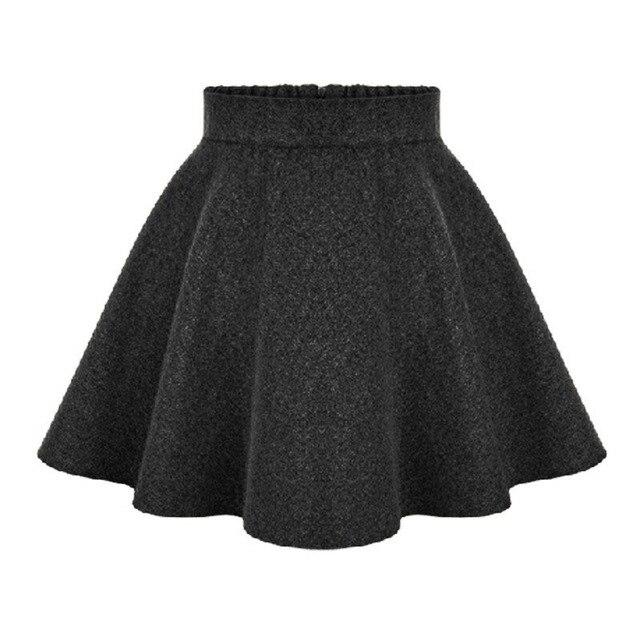 b849d1c80ad 2017 New Winter Ladies High Waist Skirts Womens Woolen Midi skirt Ladies  Tutu Pleated Skirt Plus