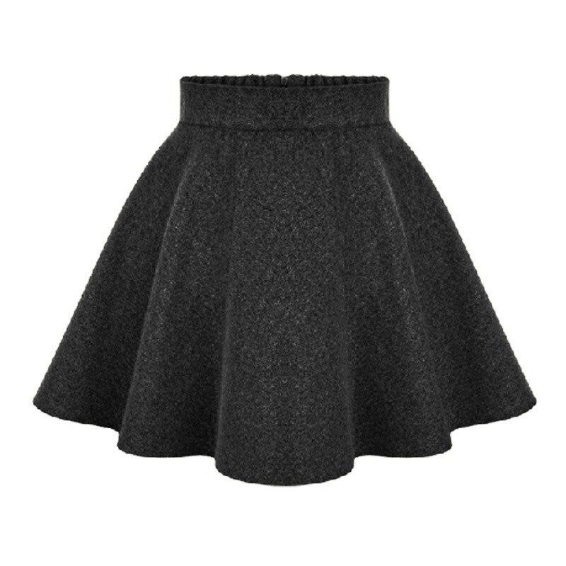 e80d68a0cd6 2017 Nouveau Hiver Dames Taille Haute Jupes Femmes Laine jupe Mi-longue  Dames Tutu Jupe Plissée Et Taille mini jupe saia gris Noir