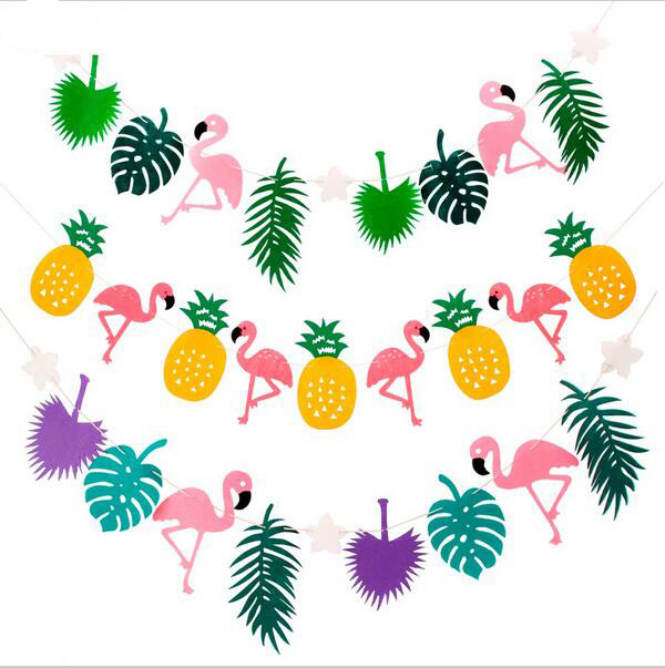 2pcs Hawaii Party Banner Flamingo Coconut Tree Nonwovens Hanging Banner Party