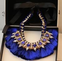 European Luxury Gold Silk Ribbon Chain Crystal Feather Tassels Colar Bib Statement Shourouk Necklace For Women