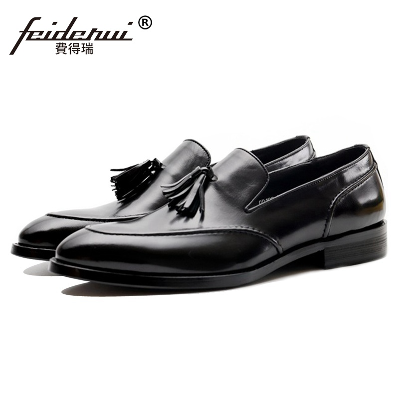 New Fashion Handmade Man Casual Shoes Genuine Leather Comfortable Tassels Loafers Designer Men's Party Office Flats JS124