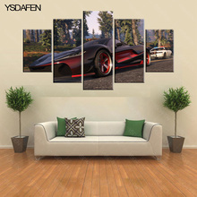 5 pieces canvas Cartoon grand theft auto V wall art Canvas Print Poster Game Hot GTA  Woman and car Images For Home Decoration
