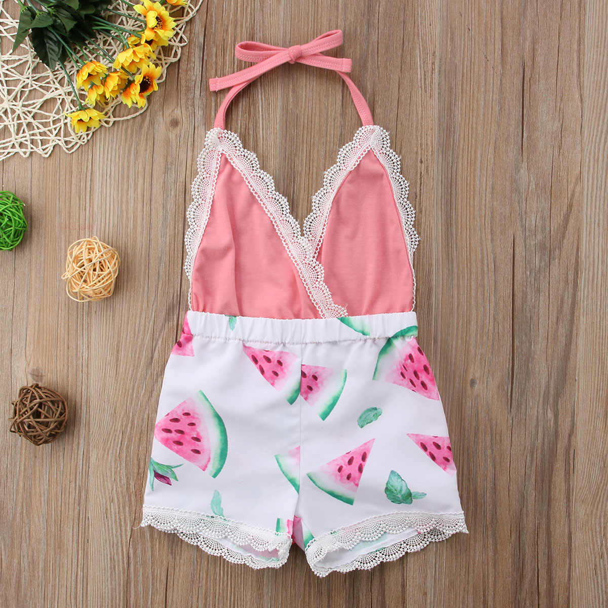 6b3d8c4de52d ... 2018 Newborn Toddler Kids Baby Girl Romper Neck Sunflower Watermelon Jumpsuit  Outfits Sunsuit Cute Summer Clothes ...