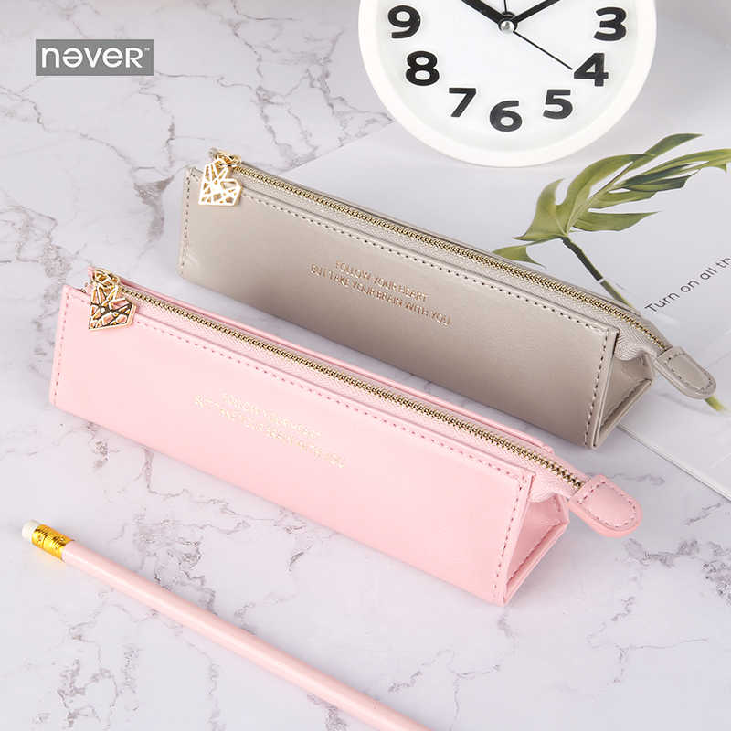 Never Pink Series PU Leather Pencil Case Pen Bag Pencils Pouch For Ladies Business Office Desk Organizer Gift Packing Stationery