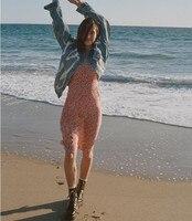100% шелк Для женщин розовый Цветочный Принт без рукавов Амелия-Nudite Спагетти ремень Лето Slim Fit Midi длинное платье
