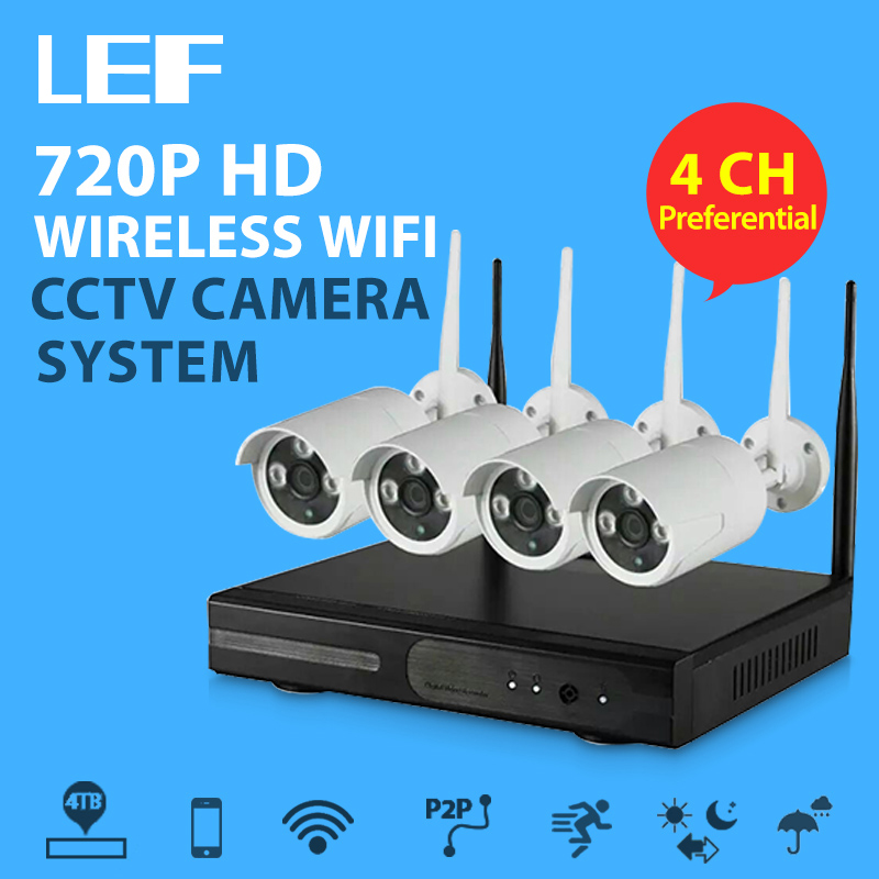 lef 4ch nvr wifi cctv security camera system 4pcs 720p hd. Black Bedroom Furniture Sets. Home Design Ideas