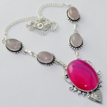 Botswana Agates & Rose Quarts  Necklace Silver Overlay over Copper , 48.2 cm, N1965