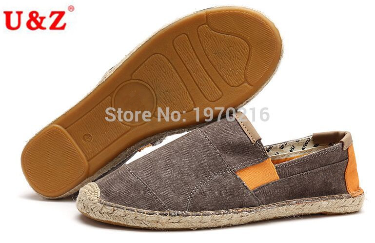 ФОТО 2016 Spring Summer male Canvas Linen Espadrilles color-blocking casual shoes,durable rubber sole slip-on shoes Men big size Eu45