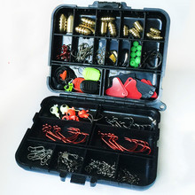 128pcs Assorted Carp Fishing Accessories Tackle Boxes With Hooks, Swivels, Sequins Lures, Connectors,Stoppers,Sinkers