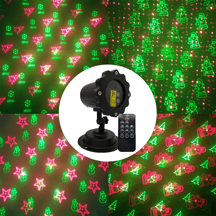 BEIAIDI 8 Pattern Red Green Christmas Laser Projector Outdoor Sky Star R&G Shower Laser Light Waterproof Garden Disco Stage Lamp beiaidi sky star outdoor christmas laser projector green red laser spotlight lamp landscape garden christmas stage light