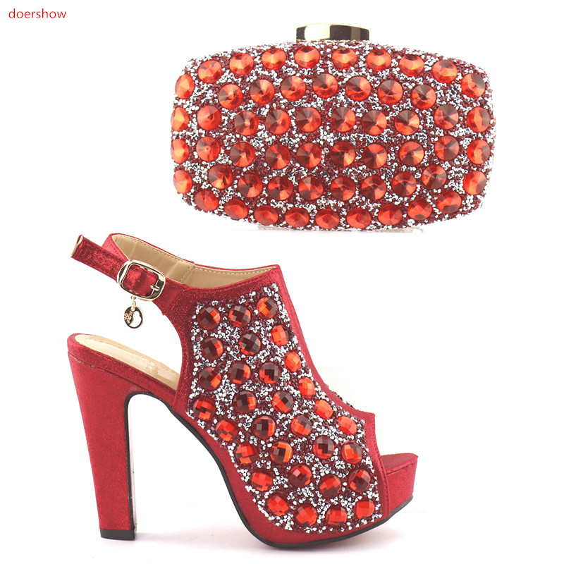 doershow New red color Italian Shoes With Matching Bags African Women Shoes and Bags Set For Prom Party Summer Sandal HQQ1-20 doershow latest african shoes and bag set for party italian fashion women sandal with matching bags set with rhinestones hjn1 12