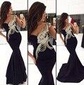 2017 elegante sexy lentejuelas cuentas sin respaldo negro gasa de la sirena de la boda vestido de fiesta vestido de noche kadisua 1689