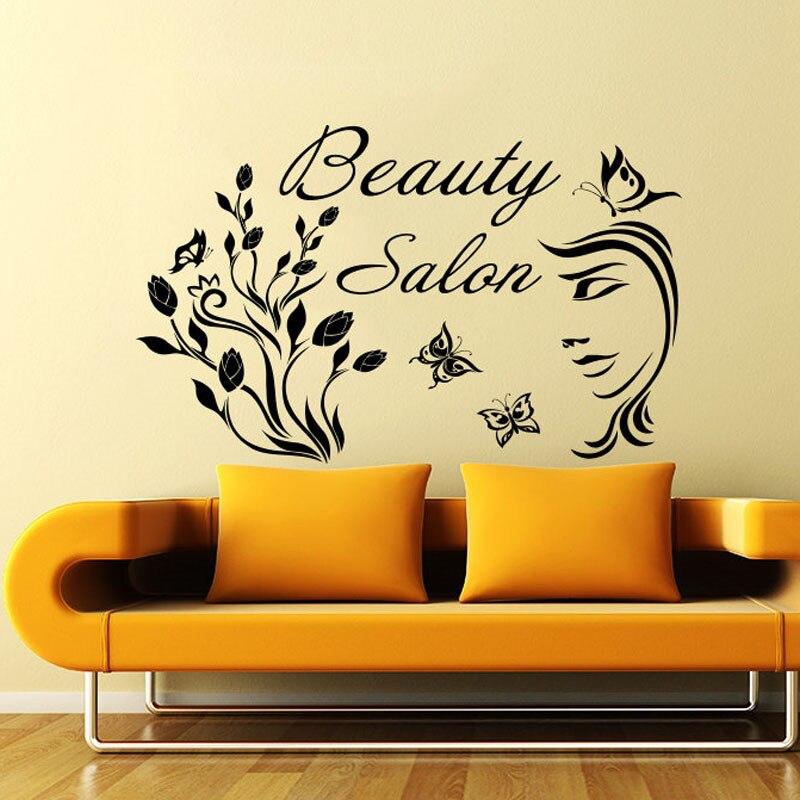 New Arrival Beauty Salon Woman Face Flowers Butterflies Wall Decals Removable Art Sticker Vinyl Home Decor