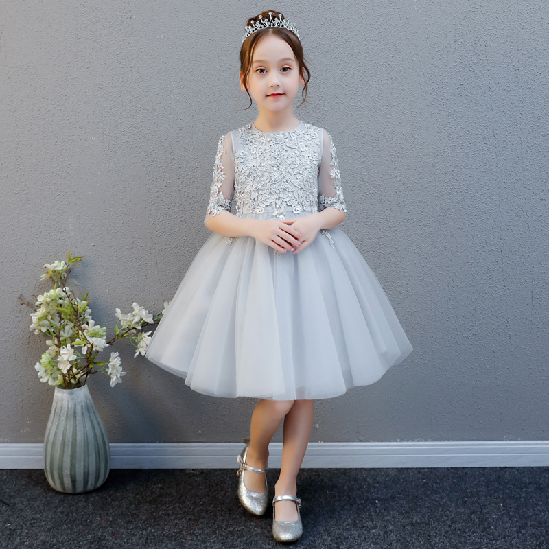 2018 autumn elegant knee length ball gown lace princess girl dress for wedding birthday party teenage girl evening prom dresses new high quality fashion excellent girl party dress with big lace bow color purple princess dresses for wedding and birthday