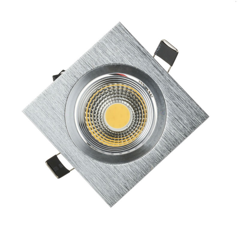 Silver Shell COB 3W 5W 7W LED Downlights Square Tiltable Fixture Cabinet Recessed Ceiling Down Lights Lamp CE