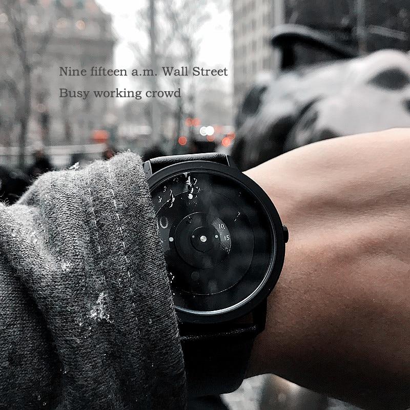 No Pointer Turntable Creative Watches Fashion Casual Men Women Leather Quartz Watch Unique Dial Design Black Unisex Wristwatches