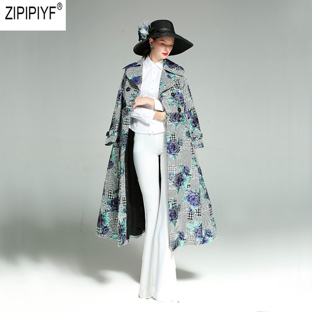 2018 Plus Size Autumn Winter Fashion Long Coat Florals Embroidery Luxury Trench Women Double Breasted Slim Outwear Coat C3069