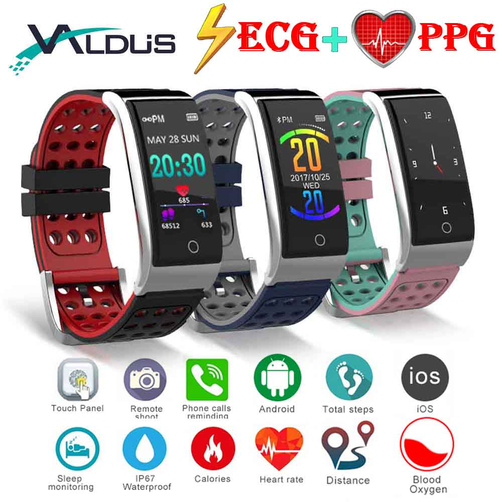 Valdus Smart Band Fitness Bracelet Blood Pressure Heart Rate Monitor Watch ECG PPG Smartband for IOS