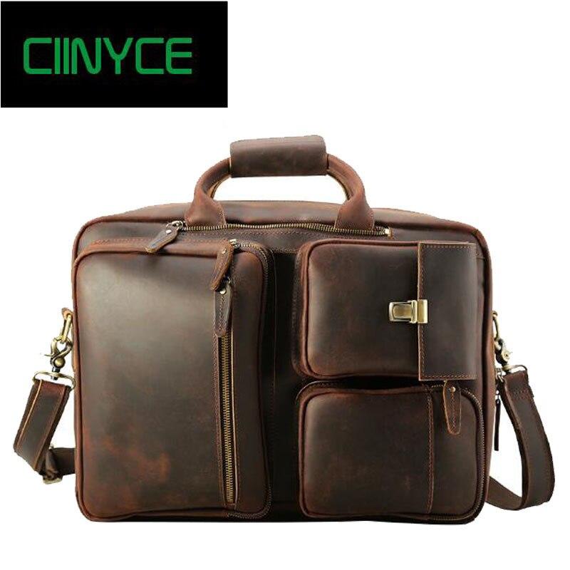 4183d784f2 Crazy Horse Genuine Leather Men Classic Briefcase Handbag Shoulder  Bussiness 17 Laptop Notebook Camera Back Packs crossbody bag -  aliexpress.com - imall.com