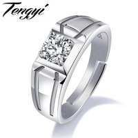 TENGYI 925 Sterling Silver Men Ring Cubic Zircon Simple Double Dent Design Crystal Jewelry Finger Rings