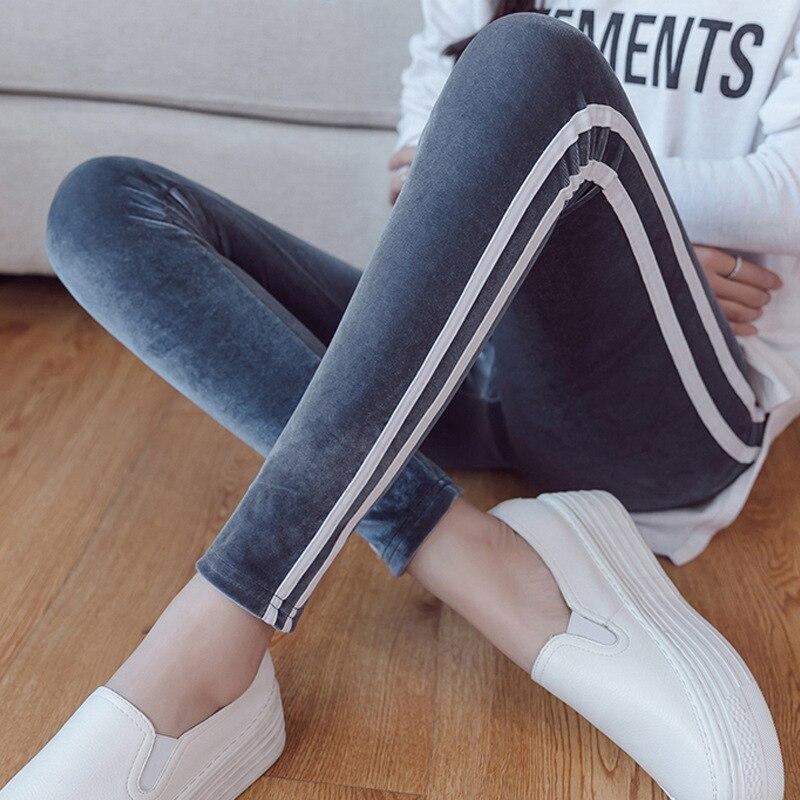 Leggings   women gold velvet   Leggings   fitness feminina 2019 autumn Workout Jeggings double white stripes Leginsy Panties mujer