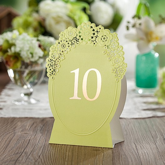 elegant table number cards green laser cut wedding place cards as wedding