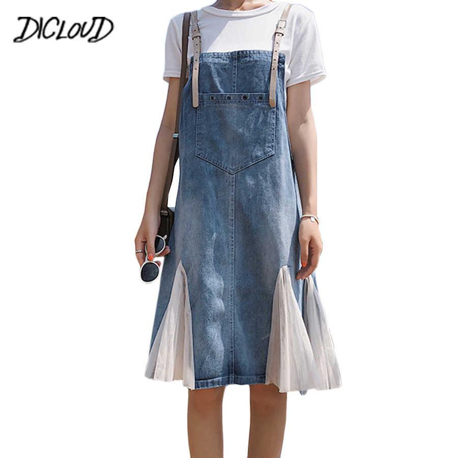 Новый комплект из двух Костюм из нескольких предметов платье из джинсовой ткани для женщин 2018 Harajuku сетки шить повседневное длинное платье для женщин с коротким рукавом прямые Винтаж платье