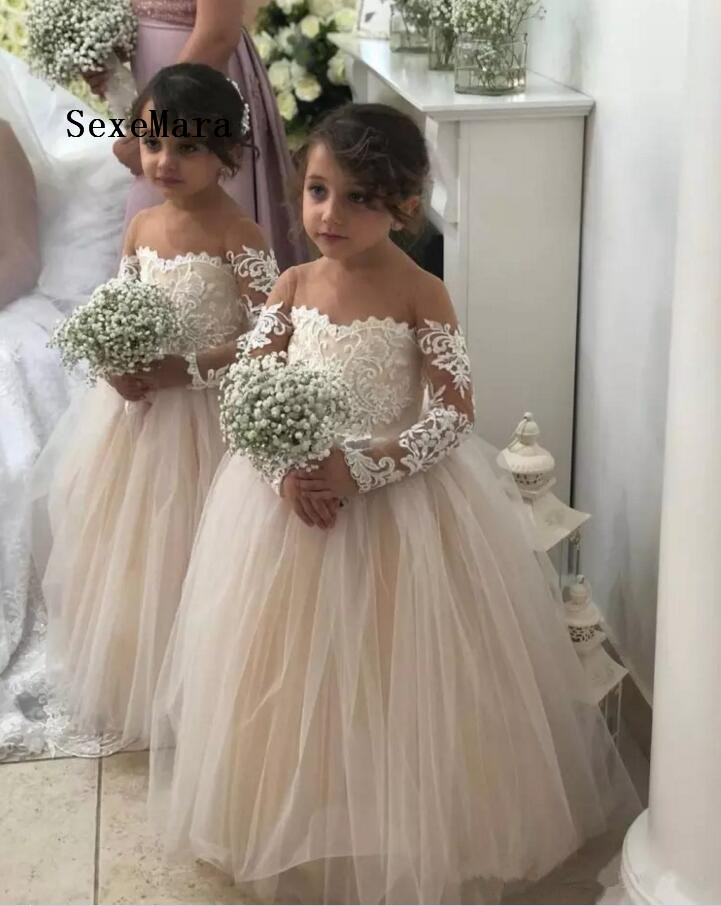 Cute Long Sleeves Flower Girls Dresses For Weddings Sheer Neck Lace Tulle Floor Length Ball Gown Princess Communion Gown green grid v neck flared 3 4 length sleeves blouses