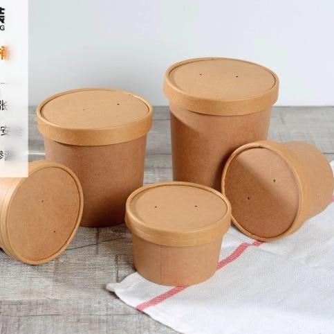 100 pçs/lote 350 ml 9x8.6 cm de alta qualidade kraft papel tigela lanche caixas caixa de embalagem sobremesa descartável (capa incluída)