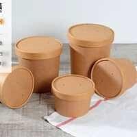 100 unids/lote 350 ML 9x8,6 CM de alta calidad de papel de Kraft de aperitivo cajas desechables postre caja de embalaje (cubierta incluida)