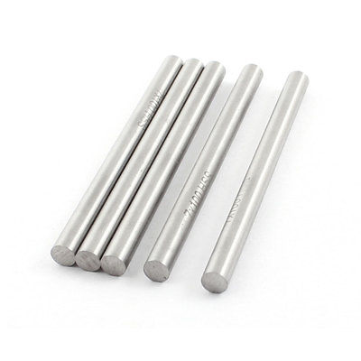 5 Pcs <font><b>7mm</b></font> x 100mm Silver Tone High Speed <font><b>Steel</b></font> Round Lathe Bar <font><b>Rod</b></font> image