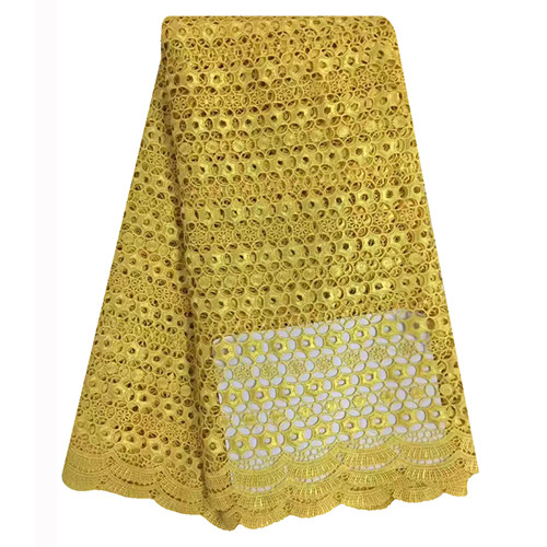 SC125 2016 New style african high quality guipure Lace yellow african lace water soluble african lace fabric 5yards for wedding