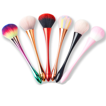 6 Colors Aluminum Handle Nail Art Soft Dust Cleaner Cleaning Brush Acrylic UV Gel Powder Removal Manicure Makeup Tools