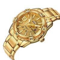 Naviforce Mens Watches Top Brand Luxury Gold Steel Quartz Watch Men Fashion Casual Watch Clock Male