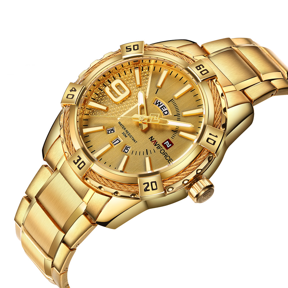 naviforce mens watches Top Brand Luxury Gold Steel Quartz-Watch Men Fashion Casual Watch Clock Male Relogio Masculino erkek saat watches men luxury brand chronograph quartz watch stainless steel mens wristwatches relogio masculino clock male hodinky