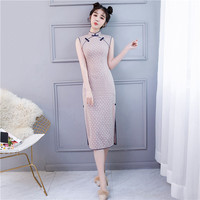 New Sexy Female Printed Cotton Qipao Chinese Traditional Dress Sleeveless Mandarin Collar High Quality Cheongsam Size S 3XL