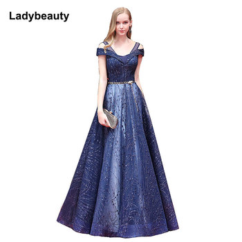 New 2018 Sexy V-Neck Evening Dresses A Line Prom Gown sequins Lacing evening formal party dresses Robe De Soiree Longue