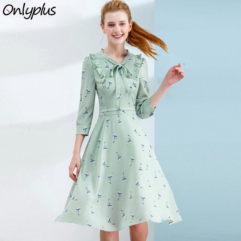 ONLY PLUS S-XXL Crane Bird Print Dress Sweet Corset Slim Fashion Spring Summer Chiffon Dresse a line Elegant Female Party Dress