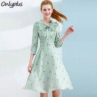 ONLY PLUS S XXL Crane Bird Print Dress Sweet Corset Slim Fashion Spring Summer Chiffon Dresse