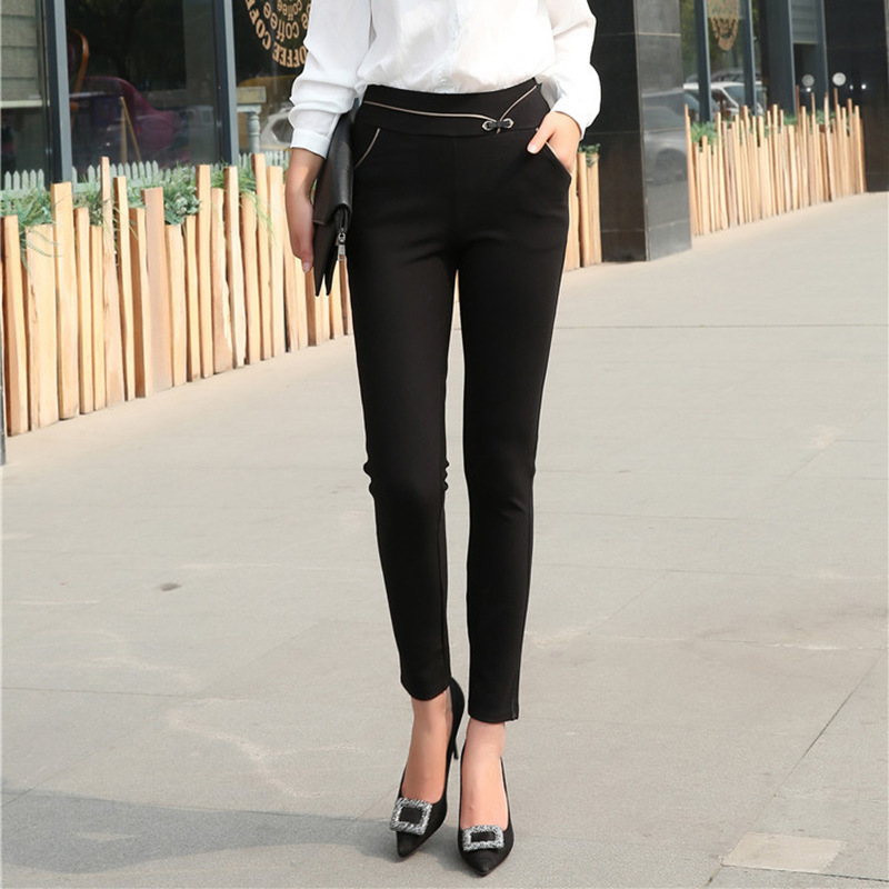 2017 Women Summer Full length Pant Casual Black Flare Pant Trousers New Arrival Women Solid Color Suit Pants