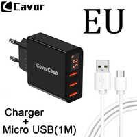 EU Universal 3 Ports Stecker Adapter Ladegerät Für Meizu M3 Hinweis M3s M3e Max M5 M6 Note Kostenlos Micro USB 5 mt Kabel Für Mei Zu M5s M6s