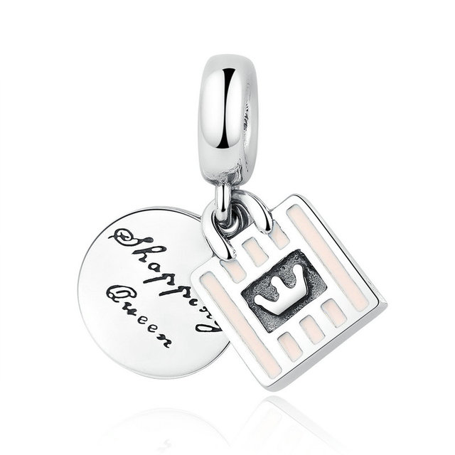 d8a96dc2b 925 Sterling Silver Soft Pink Enamel Shopping Queen Dangle Charm Fit Pandora  Bracelet Necklace Pendant