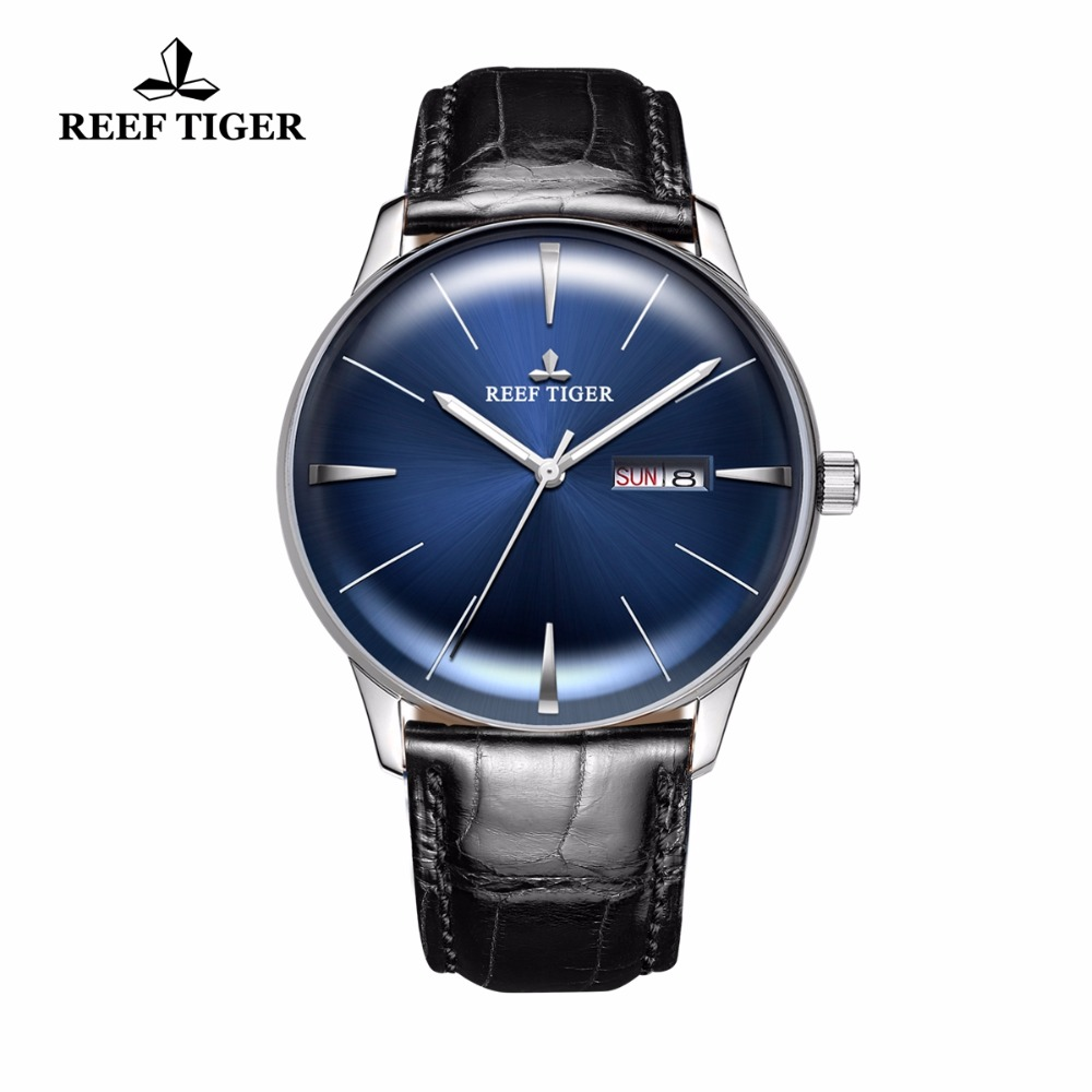 Reef Tiger/RT Brands Dress Watches Men's Stainless Steel Automatic Analog Watches Genuine Leather Strap RGA8238 стоимость