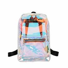 Women Laser Hologram PVC Backpacks Girls Shoulder School Backpack Female Leather Holographic Travel Bag Mochila Feminina GW18 цена 2017