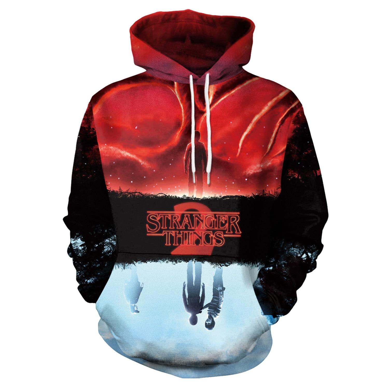 Hoodies Stranger Things Print Hoodies with Hat Men Hoodie Loose Hooded Sweatshirt Sudaderas Para Hombre Streetwear