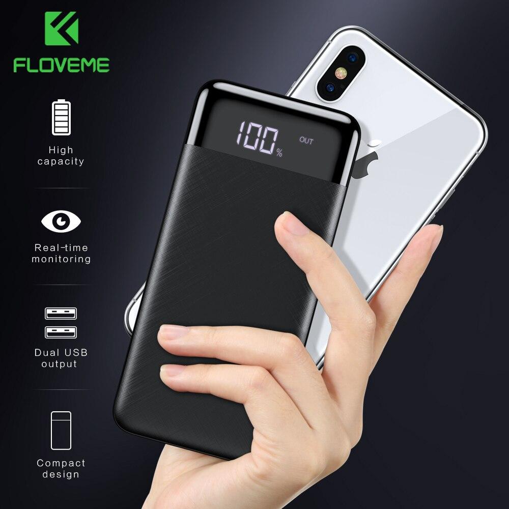 FLOVEME Power Bank 10000mah Bateria Externa De Backup Pacote de Carga rápida Powerbank 10000 Mah carregador Dual usb Para iphone Xiao mi mi