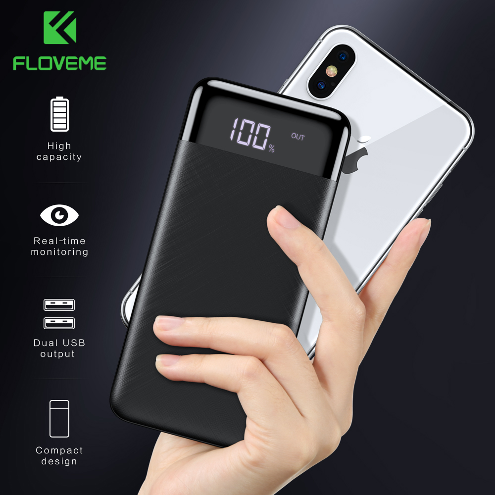 FLOVEME Power Bank 10000mah External Battery Backup Pack quick Charge Powerbank 10000 Mah Dual usb charger For iphone Xiaomi mi