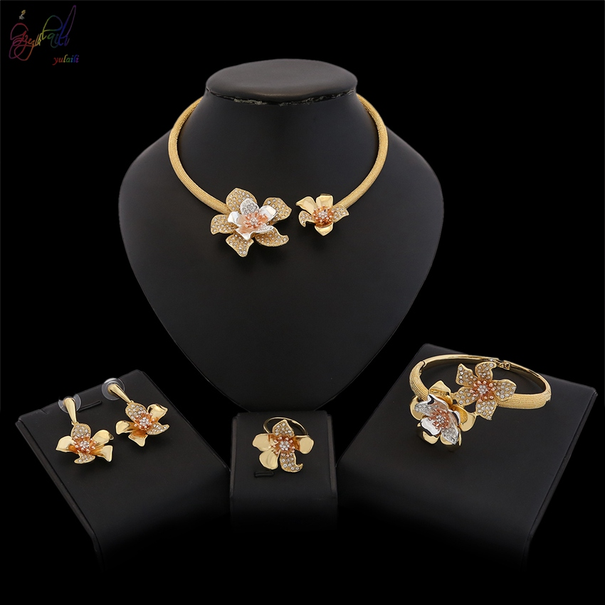 YULAILI High Quality Pure Gold Color for Party Wedding Daily Ladies Bride Jewelry Sets Fashion Choker Necklace Accessories pure color velvet six pieces thin choker necklace